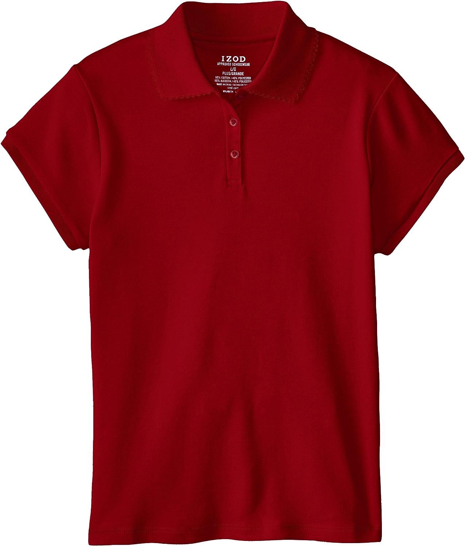 Izod Girls' Plus Size Short Sleeve Polo