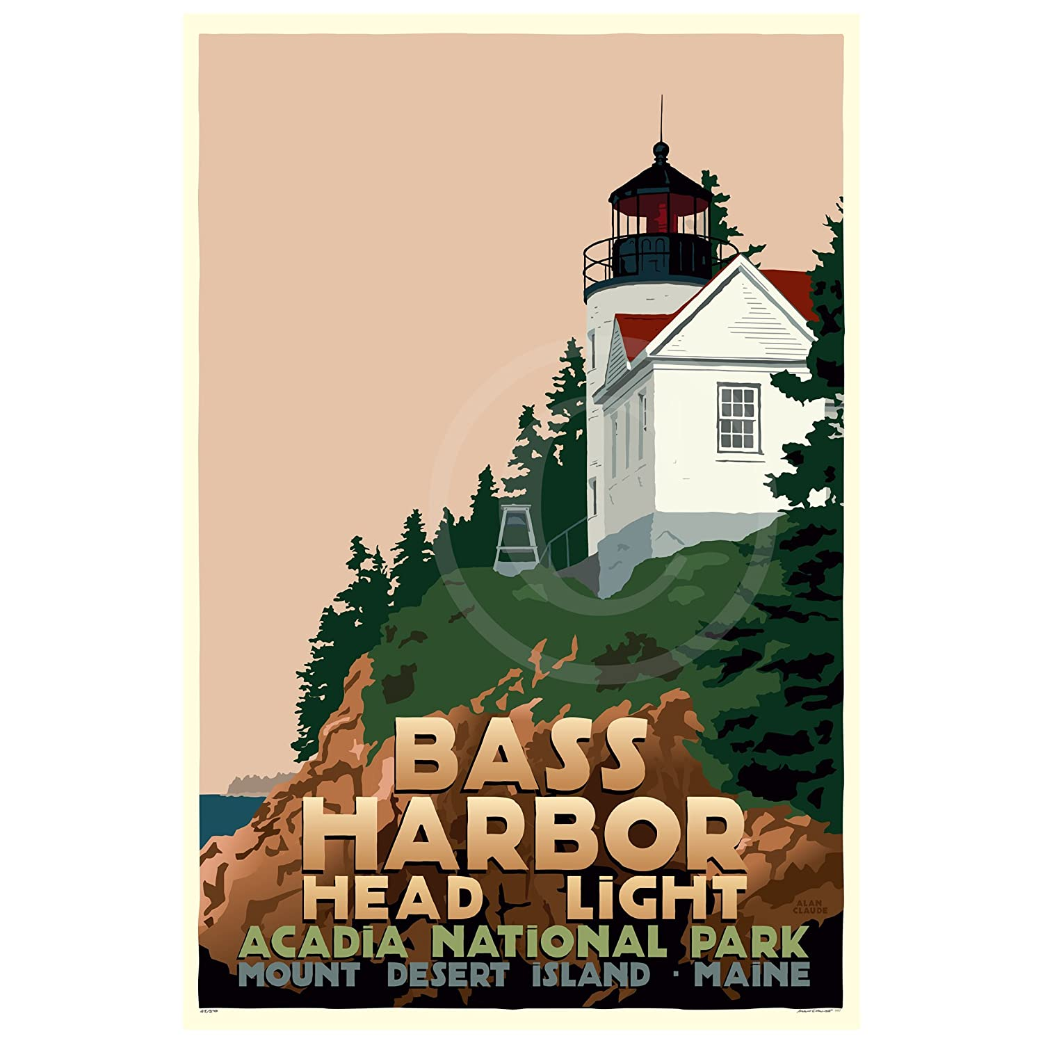 Bass Harbor Head Light Maine Print 24x36 Travel Wall Indianapolis Mall Poster D Brand Cheap Sale Venue