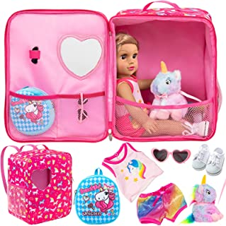 K.T. Fancy 5 Pcs 18 Inch Doll Bag and Clothes and Accessories Unicorns Doll Travel Bag Suitcase for American 18 Inch Girl ...