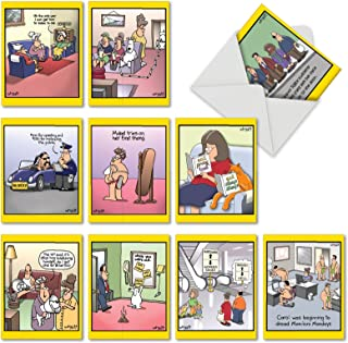 Wild for Whyatt - Funny Cartoon All Occasion Greeting Cards with Envelopes (4 x 5.12 Inch) - Assorted Blank Note Cards for Family, Work - Hilarious Stationery Notecard Set, Comic Assortment M6463OCBsl