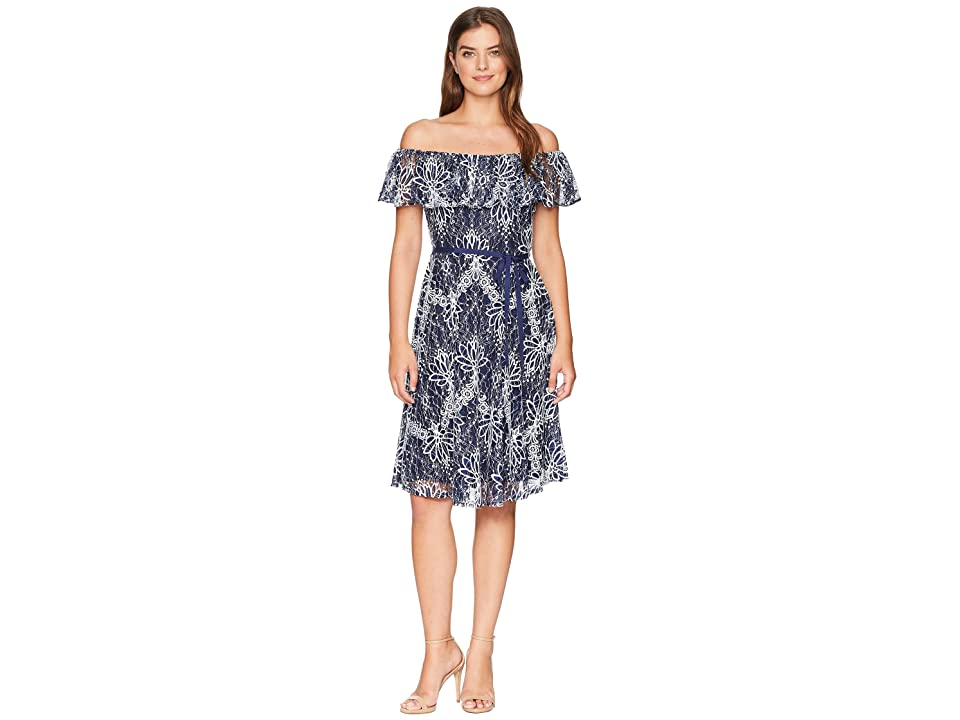 Taylor Off the Shoulder Ruffle Lace Belted Dress (Navy/Ivory) Women