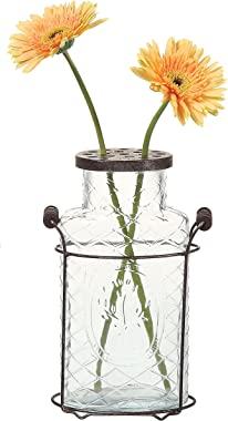 Creative Co-Op DE3875 Glass vase in Metal Stand with Metal Frog Lid