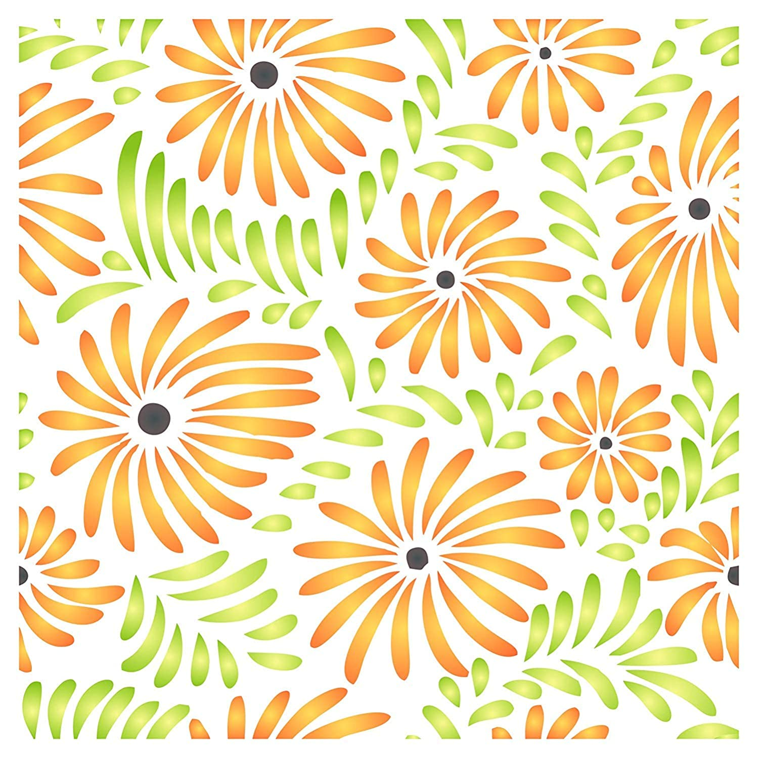 Flower Pattern Stencil - 6.5 x 6.5 inch (S) - Reusable Flora Allover Daisy Pattern Wall Stencils for Painting - Use on Paper Projects Scrapbook Journal Walls Floors Fabric Furniture Glass Wood etc.