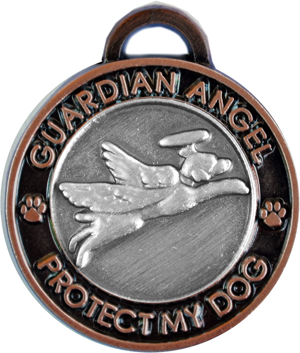 Luxepets Pet Collar Charm, Guardian Angel Dog, Antique Silver Copper