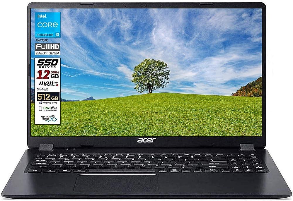 Notebook ssd slim acer intel i3 10 th, ram 12 gb, ssd 512gb m2, display 15.6 NX.EG8ET.004i3