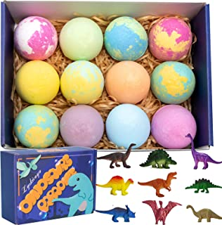 Kids Bath Bombs With Toys Inside, Egg Bath Fizzies with Dinosaur Surprise. Gentle and Kids Safe Spa Bath Fizz Balls Kit. B...