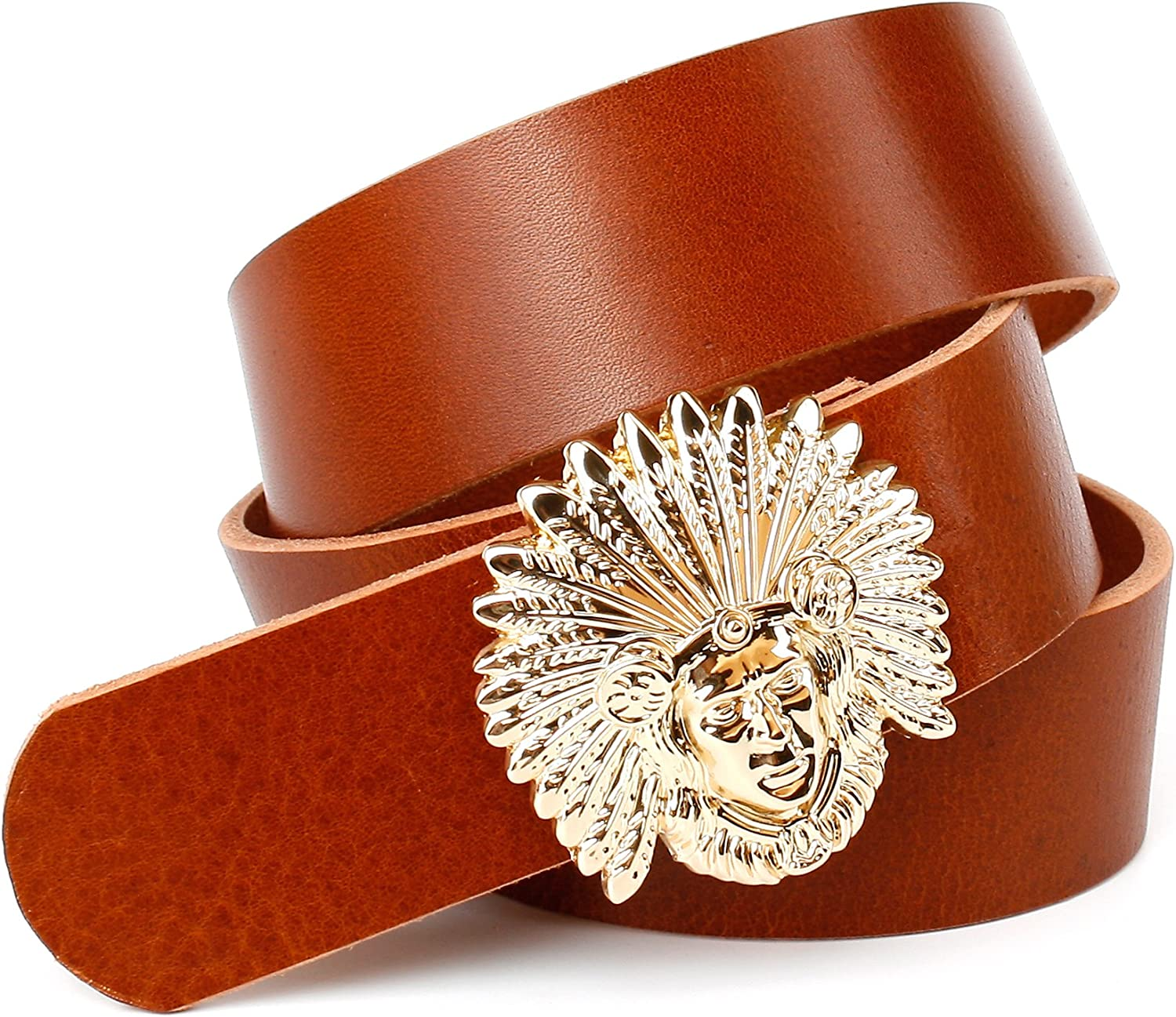 Anthoni Crown unisex belt cognac leather 1,6 , with INDIAN buckle 3444  4ID130