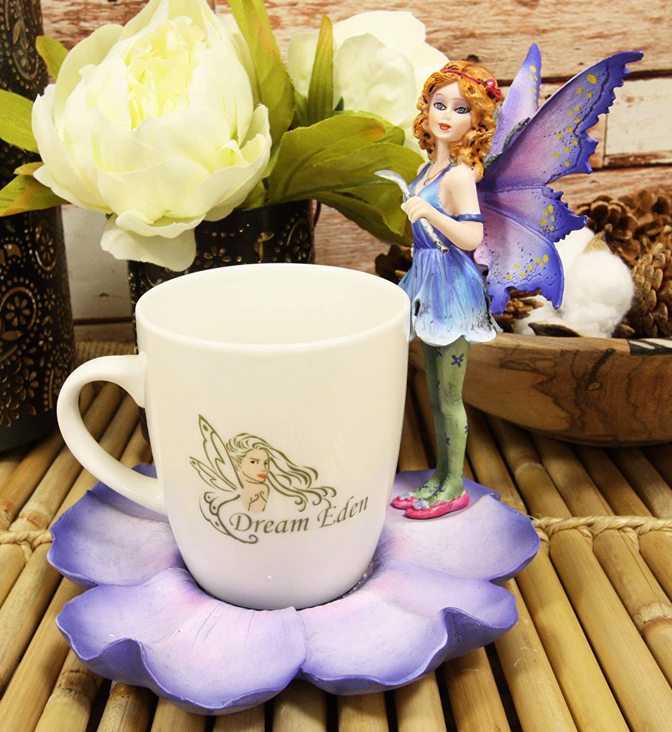 Ebros Fantasy Pixie Beverage Teacup Outlet sale feature On Flower Fairy Standing Sau Special sale item