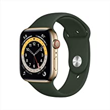 New AppleWatch Series 6 (GPS + Cellular, 44mm) - Gold Stainless Steel Case with Cyprus Green Sport Band