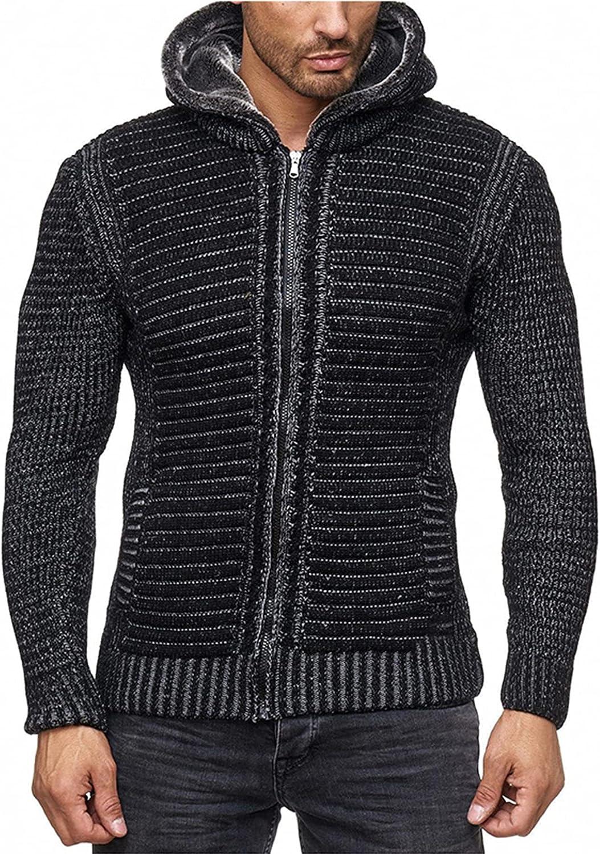 Men's Sweater Hoodie Thick Lined Full Zip Up Cardigan Sweaters with Pockets Fleece Sweatshirt