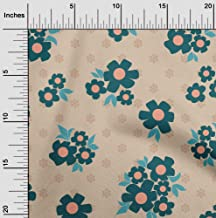oneOone Velvet Light Brown Fabric Floral & Geometric DIY Clothing Quilting Fabric Print Fabric by Yard 58 Inch Wide