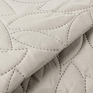 "Bourina Reversible Bed Quilt Bedspread and Coverlet 90"" x 90"" Microfiber Thin Comforter-Full/Queen,Beige"