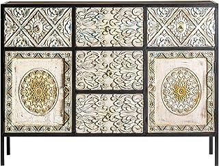 - Mueble Auxiliar - Aparadores Estilo Oriental - Aparador Jaipur Hierro/Madera 2 Puertas 5 Cajones (120x40x90)