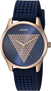 5650e71bd GUESS Women's Stainless Steel Japanese Quartz Watch with Silicone Strap,  Blue, 18 (Model
