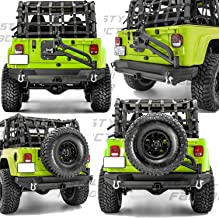 Restyling Factory 97-06 Jeep Wrangler TJ Rock Crawler Rear Bumper+Tire Carrier W/ Single handed Linkage Operation, Dual Plate, D-Rings, Hitch Receiver (Black)