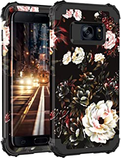 Pandawell Compatible Galaxy S7 Case Floral 3 in 1 Heavy Duty Hybrid Sturdy Armor High Impact Shockproof Protective Cover Case for Samsung Galaxy S7, Flower/Black