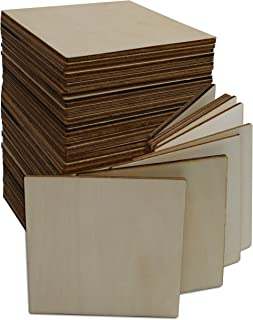 (50 Pack) Blank Square Wood Plaque for Crafts Painting Wood Burning Engraving Machine Unfinished and Unpainted Wooden Cutout 4