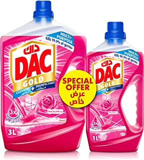DAC Gold Disinfectant Multi-Purpose Cleaner - Rose (3 Litres + 1 Litre), for 99.9% Germs and Bacteria Removal, with Long-L...