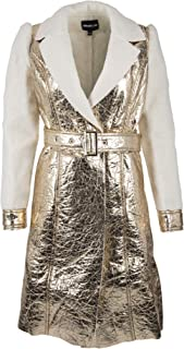 Glam and Gloria Womens Sherpa Lined Gold Metallic Foil Belted Long Faux Fur Coat