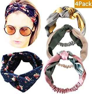 M-FIT 4 Pack Premium Silk Floral Head Wrap, Vintage Elastic Printed Boho Hair Band, Fashion Stretchy Twisted Knot Headband for Girls and Women(4pc-Bohemia)