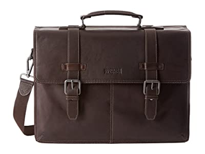 Kenneth Cole Reaction Flappy Go Lucky Colombian Leather Flapover Brief (Brown) Briefcase Bags