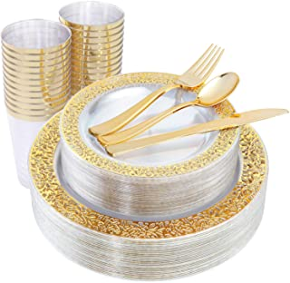 IOOOOO 150 Pieces Gold Plastic Plates & Disposable Silverware & Gold Cups, Lace Design Clear Dinnerware Includes: 25 Dinner Plates, 25 Dessert Plates, 25 Tumblers, 25 Forks, 25 Knives, 25 Spoons