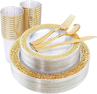 IOOOOO 150 Pieces Gold Plastic Plates & Disposable Silverware & Gold Cups, Lace Design Dinnerware Includes: 25 Dinner Plates 10.25