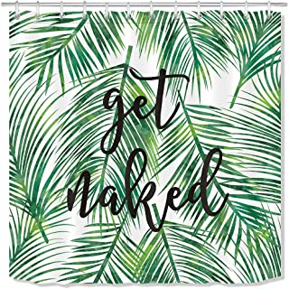 LB Green Tropical Coconut Leaf Shower Curtain with Hooks,Black Font Get Naked Funny Bathroom Curtains 72x72 inch Waterproof Polyester Fabric