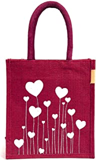 H&B Women's Jute Bag - Lunch Bag Tote Bag | Bag for Tiffin | Bags with Zip | Totes Maroon