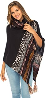 Back From Bali Womens Knit Sweater Cape Boho Soft T Neck Cowl Neck Poncho Tassels