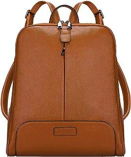 S-ZONE Damen Rucksack Echtes Leder 14 Inch Laptoptasche Casual Mode Elegant Daypack Schultertasche Stadtrucksack Reisetasc...
