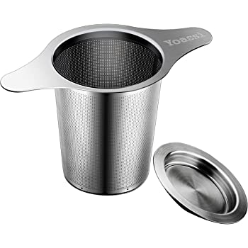 Yoassi Extra Fine 18/8 Stainless Steel Tea Infuser Mesh Strainer with Large Capacity & Perfect Size Double Handles for Hanging on Teapots, Mugs, Cups to steep Loose Leaf Tea and Coffee