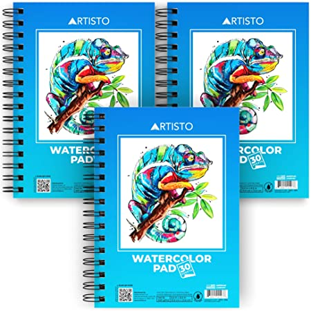 """Artisto Watercolor Pads 5.5x8.5"""", Pack of 3 (90 Sheets), Spiral Bound, Acid-Free Paper, 140lb (300gsm), Perfect for Most Wet & Dry Media, Ideal for Beginners, Artists & Professionals"""