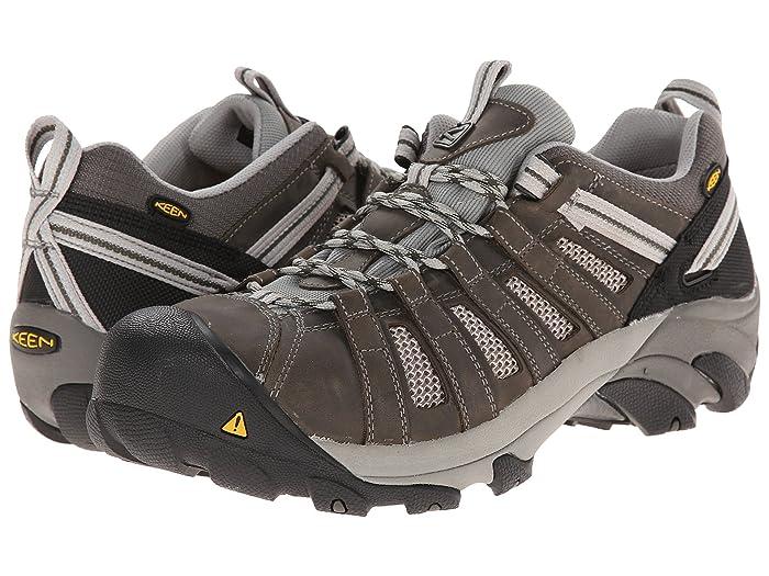 Keen Utility  Flint Low Steel Toe (Gargoyle/Forest Night) Mens Work Lace-up Boots