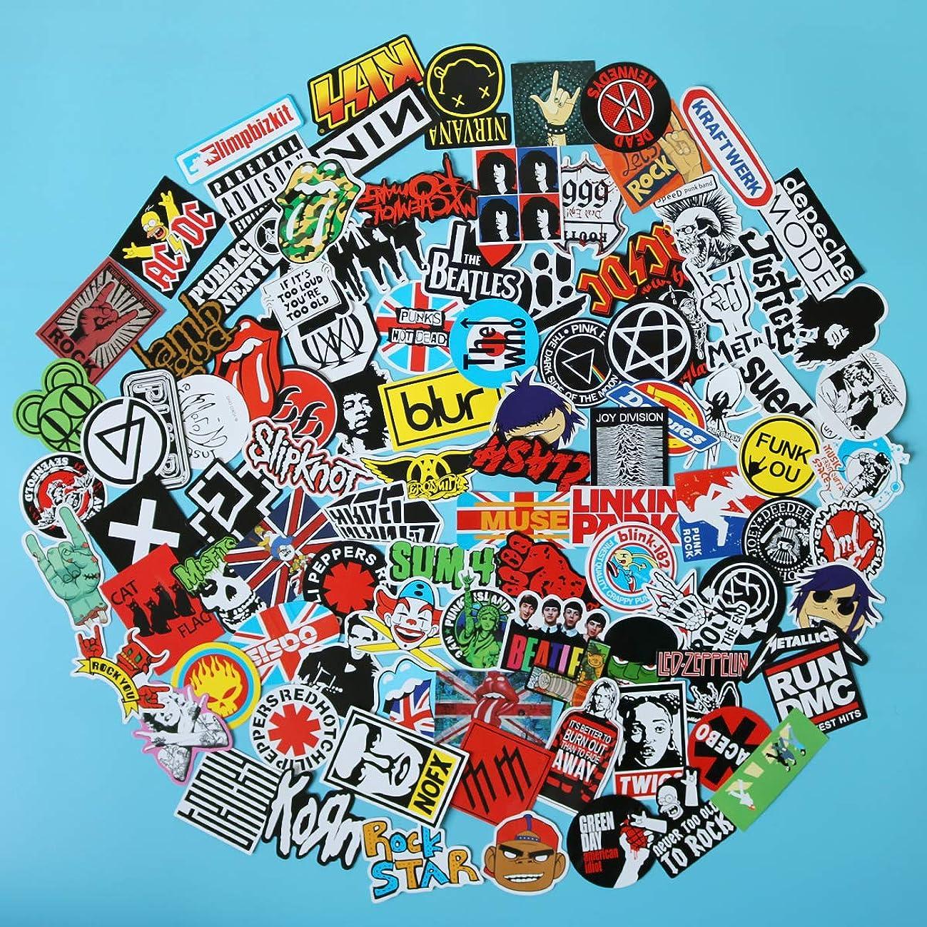 100PCS Pack Band Rock Roll Punk Stickers Decals Laptop Cars Guitar Bumper Classic Vinyl Waterproof Graffiti