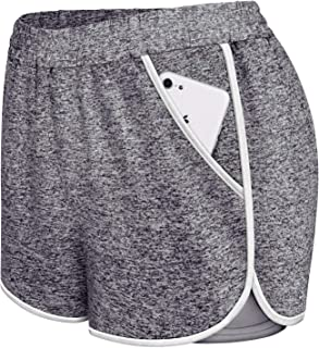 Womens Sport Shorts Double Layers Yoga Workout Activewear with Pockets