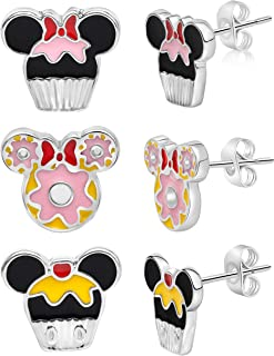 Mickey and Minnie Mouse Fashion Stud Earring Set - 3/4/5...