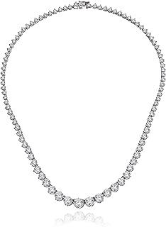 Platinum-Plated Sterling Silver Swarovski Zirconia Round-Cut Graduated Riviera Necklace