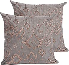 MOTINI 18 x 18 Decorative Throw Pillow Cover Sequin Embroidered Cotton Velvet Sofa Cushions Pillow Case for Couch, 2 Pack