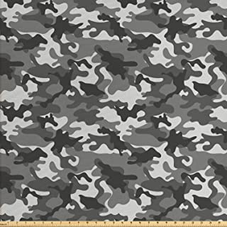 Ambesonne Camouflage Fabric by The Yard, Monochrome Attire Pattern Camouflage Inside Vegetation Fashion Design Print, Decorative Fabric for Upholstery and Home Accents, 1 Yard, Coconut Grey
