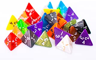 25 Count Assorted Pack of 4 Sided Dice - Multi Colored Assortment of D4 Polyhedral Dice