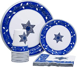 Joyous Passover Pack! Disposable Paper Plates, Napkins and Cups Set for 15 (With free extras)