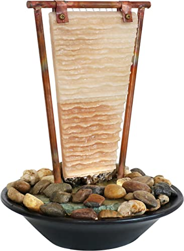 wholesale Sunnydaze Ridged Slate Tabletop Water Fountain with LED Light - Lighted lowest Indoor Relaxation Fountain - Ideal Decor Accent for Living Room, Bedroom, Bathroom or Office new arrival - 16-Inch online