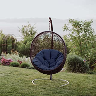Modway EEI-739-NAV-SET Encase Wicker Rattan Outdoor Patio Balcony Porch Lounge Egg Swing Chair Set with Stand Navy