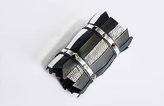 Bracciale modello CUFF, polsino alto in pelle, nappa nera e argento, gioielli design, contemporary jewels, luxury accessor...