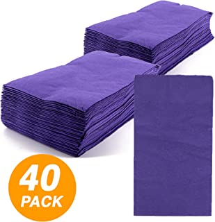 SparkSettings Big Party Pack Tableware 2 Ply Guest Towels Hand Napkins Paper Soft and Absorbent Decorative Hand Towels for Kitchen and Parties 40 Pieces New Purple