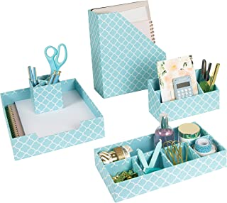 Blu Monaco Teal Desk Organizers and Accessories for Women - 5 Piece Desktop Cubicle Decor Set - Letter - Mail Organizer, Desk Organizer Caddy Tray Office Supplies, Pen Cup, Magazine File Holder - Aqua