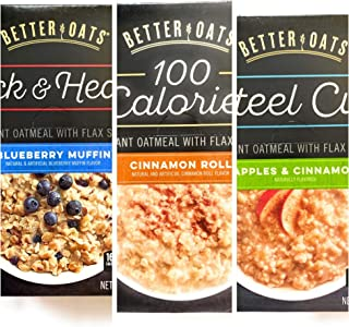 Better Oats Instant Oatmeal - 3 Flavor Variety Pack of 10 pouches each, including Blueberry Muffin, Cinnamon Roll and Appl...