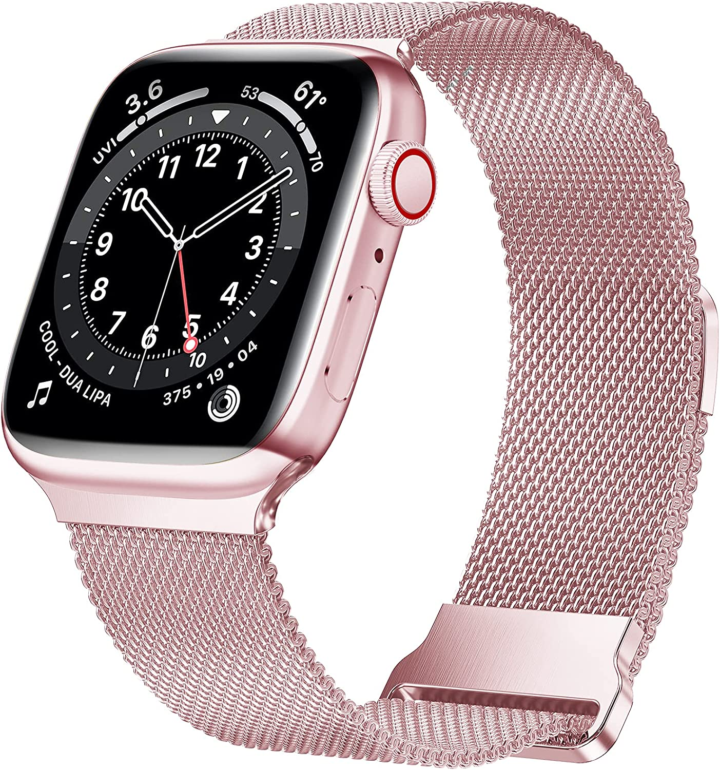 JuQBanke Magnetic Band Compatible with Apple Watch 42mm 44mm 45mm, Stainless Steel Mesh Milanese Strap with Adjustable Loop, Metal band for iWatch SE Series 7 6 5 4 3 2 1 for Women Men, Rose Pink Gold