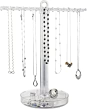 STORi Clear Plastic Necklace Holder with 30 Individual Pegs and Divided Jewelry Tray